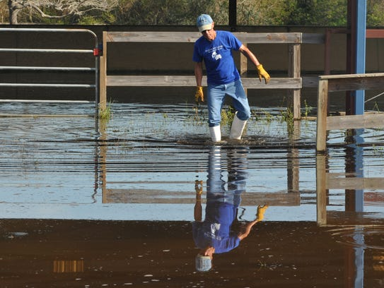 Bob Rogan at the flooded covered arena. Harmony Farms,