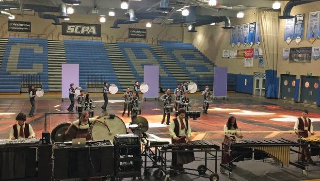The Moorpark High School Winter Drumline performs at a competition. Moorpark High School will host its inaugural Southern California Percussion Alliance (SCPA) Winter Drumline Competition from 3:30-8 p.m. Feb. 10.