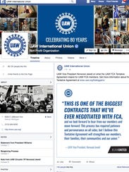 The Facebook page of the UAW talking about the new