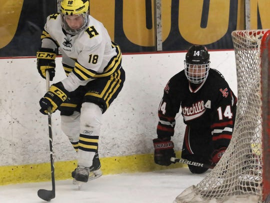 Hartland's Brenden Tulpa (18) had a goal and set up