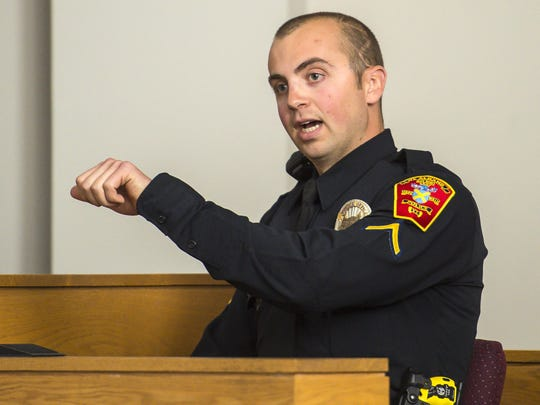 St. Albans police officer Keith Cote testifies during a hearing on whether to dismiss charges against former Burlington police officer Leanne Werner, not pictured, in Vermont Superior Court in St. Albans on Tuesday, May 17, 2016.  Werner is accused of driving while intoxicated and crossing into oncoming traffic, killing 74-year-old Omer Martin in July 2015. Cote testified that Werner said she was picking up a pair of sunglasses immediately before the crash.
