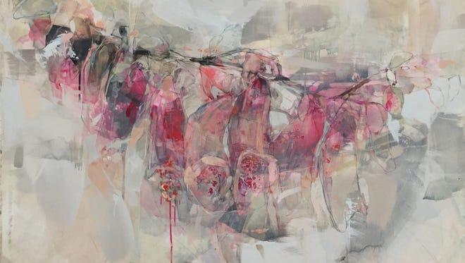 """Foxglove in Lehon"" by Emily Leonard, 34-by-48, oil on panel, 2016."