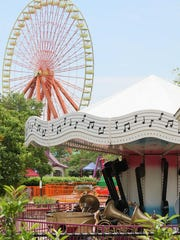 The Giant Wheel and Musical Carousel at Kentucky Kingdom in Louisville.