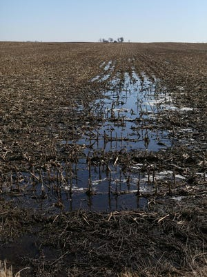 Water runoff from melting snow on a field east of Lake City Monday March 9, 2015, in Calhoun County.