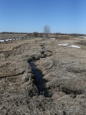 Tile system used to drain water that ends up in the Raccoon River shown at a Calhoun County farm near Lake City, Iowa.,March 9, 2015.