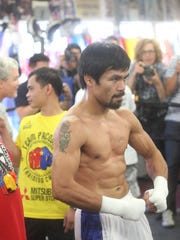 "Emmanuel ""Manny"" Pacquiao during his media workout day at the Wild Card Gym in Hollywood on March 30, 2016. Pacquiao will meet Cathedral City's Timothy Bradley in Las Vegas, Nevada on April 9, 2016 at the MGM Garden Arena."