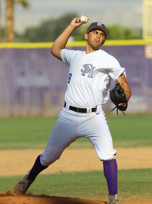 Shadow Hills High School's Sean Roby pitched 6 innings and allowed one run during his win against Vista del Lago High School at home.