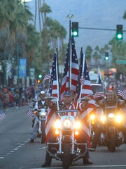 The 21st annual Palm Springs Veterans Day Parade down Palm Canyon Drive is scheduled to start at 3:30 p.m. Saturday, Nov. 11, 2017.