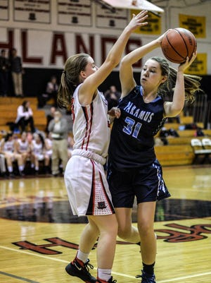 Sophomore Olivia Voorhis (31) returns from last season and plays forward for Paramus.