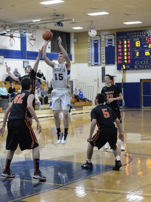Kevin Eifert (15) is a 6-foot-5 center and a relentless player for NV/Old Tappan.