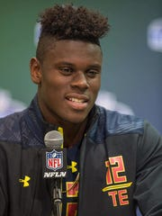 Miami tight end David Njoku speaks to the media during the 2017 combine at Indiana Convention Center.