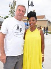 Asbury Park Mayor John Moor congratulates Founder BiBi Bennett on a successful event.