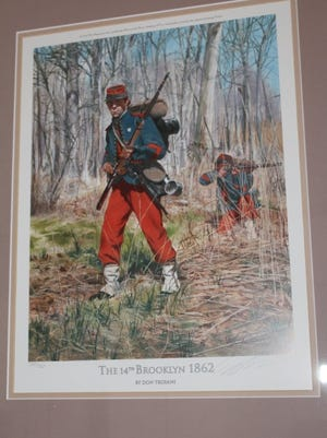 "Militia volunteers of the 14th Brooklyn proudly wore their colorful Zuave uniforms in almost every major action of the Civil War. Known as ""the red leg devils"", they did not believe in retreat."