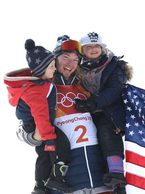 In 2018:  David Wise of the United States celebrates with his family after winning gold in the Freestyle Skiing Men's Ski Halfpipe Final on day thirteen of the PyeongChang 2018 Winter Olympic Games at Phoenix Snow Park on February 22, 2018 in Pyeongchang-gun, South Korea.  (Photo by Cameron Spencer/Getty Images)