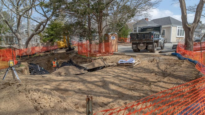 The Cotuit Library garden during excavation earlier this spring.