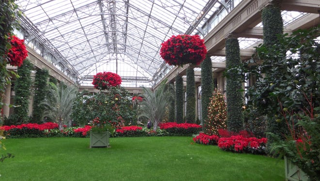 The vast conservatory is still decorated for the holidays.