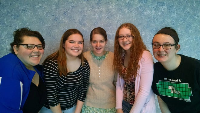 Five Cedar Crest High School students, from left, Mina Harbay, Madison Moyer, Bethany Bollinger, Rose Peterschmidt and Megan Fields qualified for Lancaster-Lebanon Music Educators Association county choral festival. Bollinger, Harbay and Moyer qualified for the district choral festival.