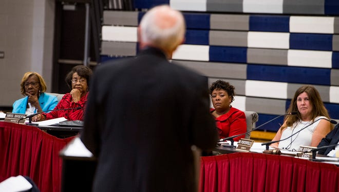 Interim State School Board Superintendent Ed Richardson discusses the school intervention during a meeting of the Montgomery County School Board at Park Crossing High School in Montgomery, Ala. on Thursday September 28, 2017.