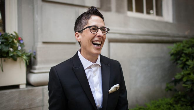 Alison Bechdel of Bolton stands in front of her hotel on the Upper East Side before riding to the Tony Awards in New York City on Sunday, June 7, 2015.