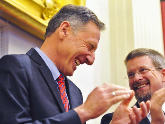 Gov. Peter Shumlin (left) enjoys a laugh with Speaker of the House Shap Smith before delivering his inauguration speech at the Statehouse in Montpelier on Thursday, January 8, 2015.