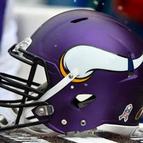 Nov 16, 2014; Chicago, IL, USA; A detailed view of the Minnesota Vikings helmet during the first half at Soldier Field. Mandatory Credit: Mike DiNovo-USA TODAY Sports