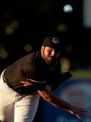 Erie SeaWolves pitcher Michael Fulmer delivers against the Portland Sea Dogs on Aug. 4, 2015, in Erie, Pa.