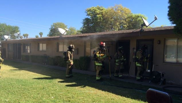 Three people were displaced after an apartment fire in Scottsdale on Sept. 15, 2016. Fire officials said a resident who was cooking eggs left the pan unattended and the hot oil caught fire.