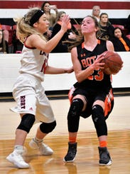 Rotan's Ryleigh Denton pulls up for a jump shot with