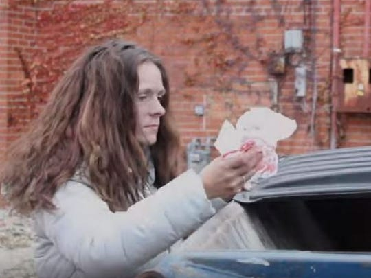 "Stephanie Carter portrays a heroin addict in the video for Frank Medley's song ""Struggles."""