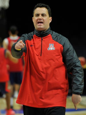 Mar 25, 2015: Arizona Wildcats head coach Sean Miller watches during practice before the semifinal of the west regional at Staples Center.