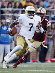 Notre Dame quarterback Brandon Wimbush rushed for 207 yards and four touchdowns in his team's win last week against Boston College.