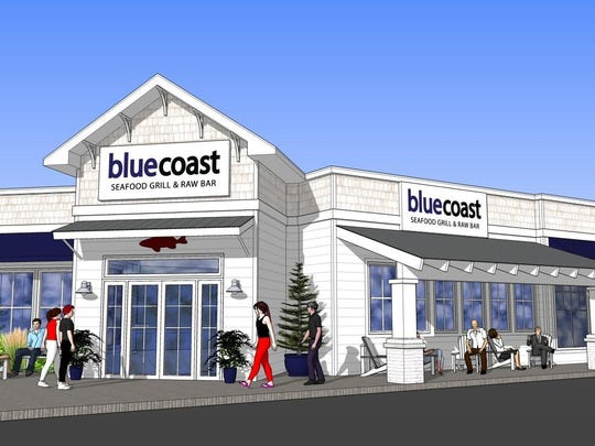 The rendering of the new Bluecoast Seafood Grill & Raw Bar, set to open in Rehoboth Beach this summer.
