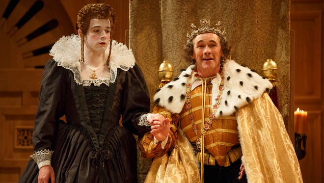 Joseph Timms, left, as Anne, and Mark Rylance, as King Richard III, romp in Shakespeare's Globe production of 'Richard III.'