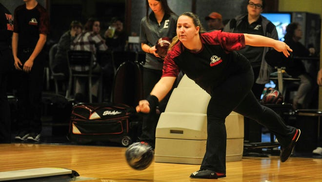 Marion Harding's Mackenzie Augenstein takes her shot during a bowling match against Elgin last week at bluefusion. Augenstein led the Presidents in average this season.