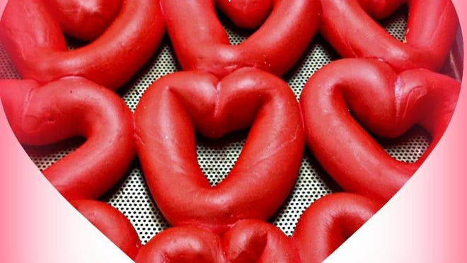 Heart-shaped bagels from Monticello Bagel Bakery are hard to resist.