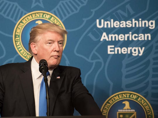 US President Donald Trump speaks at the Energy Department
