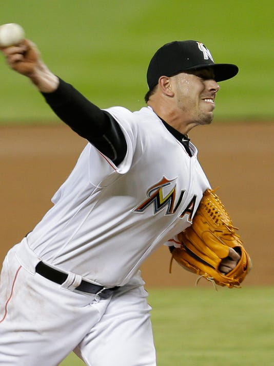 Miami Marlins' Jose Fernandez (16) pitches against the Detroit Tigers in the first inning of an interleague baseball game, Wednesday, April 6, 2016, in Miami. (AP Photo/Alan Diaz)