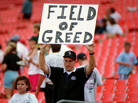 A fan voices a strong message concerning the baseball strike at the close of the August 11, 1994 Colorado Rockies-Atlanta Braves game at Mile High Stadium in Denver.