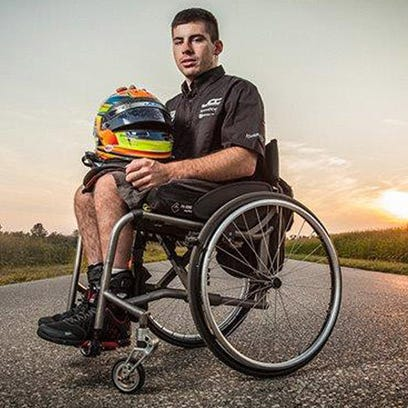Michael Johnson, 22, is  the  only paralyzed driver