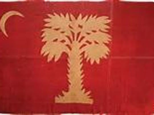 This red palmetto flag, captured by Iowa troops during the Civil War, is still owned by the state of Iowa, although it has been on loan to The Citadel, the military college of South Carolina, since 2010.