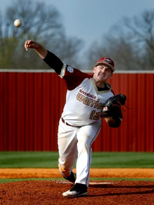 Riverdale's Paxton Hughes fires a pitch during a recent game. Hughes is a nominee for area boys player of the week for April 9-14.