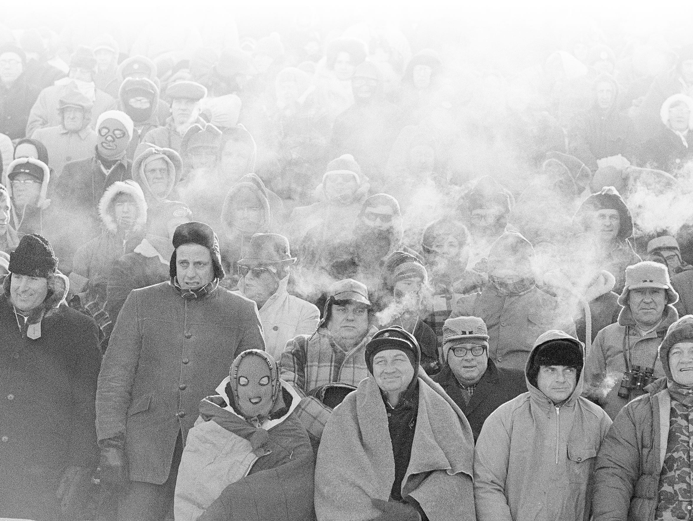 With a temperature of 13 degrees below zero at kickoff, 50,861 fans showed up at Lambeau Field on Dec. 31, 1967 for the NFL Championship Game, better known as the Ice Bowl.