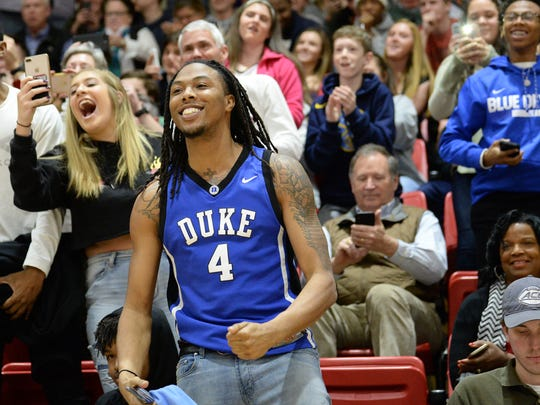 Fans cheer as basketball star Zion Williamson announces Duke as his college choice from Spartanburg Day School on Saturday, January 20, 2018. He chose between Clemson, South Carolina, Duke, Kentucky, and North Carolina.