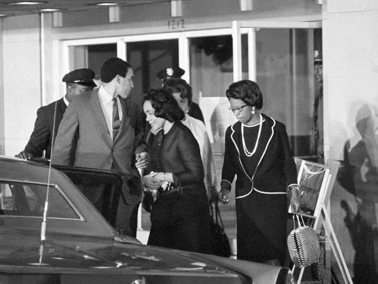 Coretta Scott KIng , widow of the slain civil rights leader, leaves a good Samaritan Hospital in Los Angeles on June 5, 1968 where Sen. Robert Kennedy is a patient.