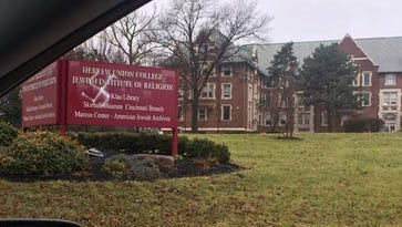 A sign at Hebrew Union College was vandalized Monday.