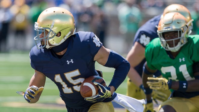 Notre Dame Fighting Irish wide receiver Corey Holmes (15) runs in the third quarter of the Blue-Gold Game at Notre Dame Stadium.
