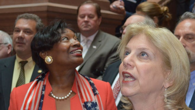 Assemblywoman Shelley Mayer, D-Yonkers, right, with Senate Minority Leader Andrea  Stewart-Cousins.