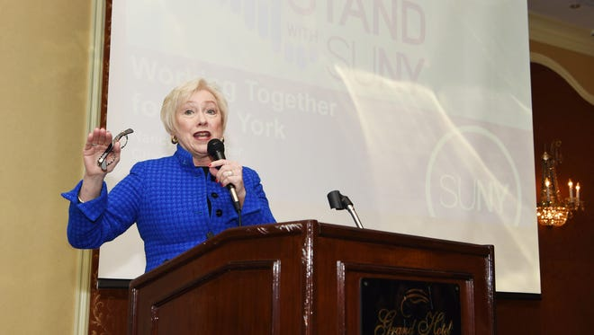 Dr. Nancy Zimpher, Chancellor of the State University of New York, gives the keynote address at the Council of Industry's Annual Luncheon and Expo at the Poughkeepsie Grand Hotel on Nov. 6, 2015.