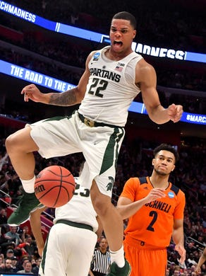 pretty nice 7415e ccbab Miles Bridges 'answers the bell,' powers Michigan State over ...