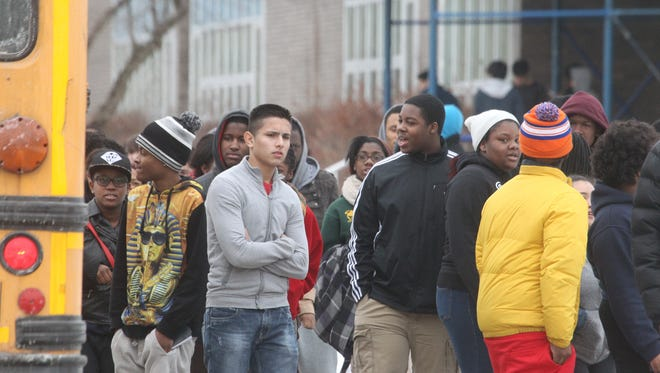 Students leave Ramapo High School in the East Ramapo district at the end of the school day Thursday.